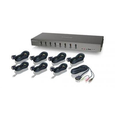 Iogear 8 Ports, DVI-I, USB Type B, 2 x USB Type A, 1 x VGA, 1920x1200 KVM switch - Grijs
