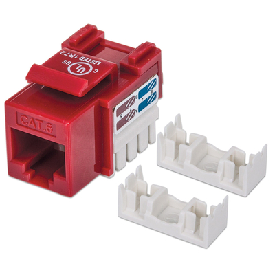 Intellinet Keystone Jack, Cat6, UTP, Punch-down, Red - Rood