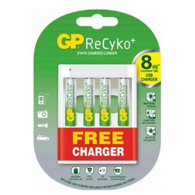 Gp batteries oplader: GP 4xAA met gratis USB lader - Wit
