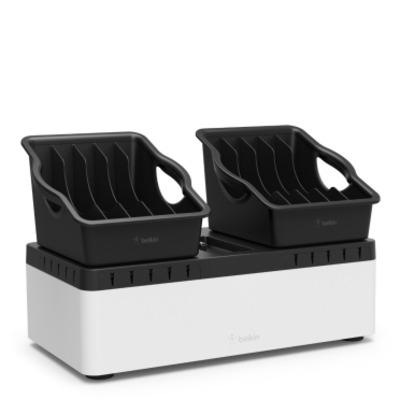 Belkin Store & Charge - Laadstation met verwijderbare bakken (10-poort USB laadstation inbegrepen) - Zwart,Wit