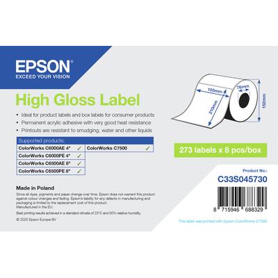 Epson High Gloss Label - Die-Cut: 105mm x 210mm, 273 labels Etiket - Wit