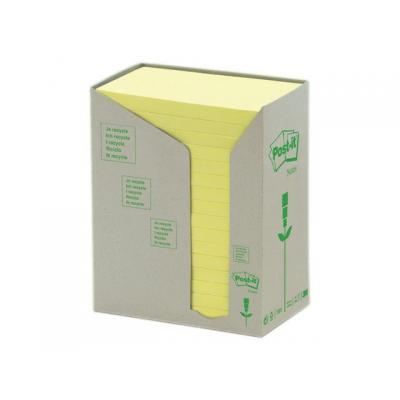 Post-it zelfklevend notitiepapier: Notitieblok recycled 76x127mm geel/pak16