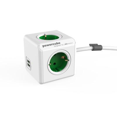 Allocacoc PowerCube Extended USB Stekkerdoos - Groen, Wit