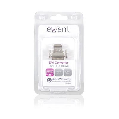 Ewent DVI-D - HDMI, M-F Kabel adapter - Zilver