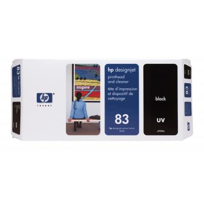 Hp printkop: 83 zwarte printkop en printkopreiniger, UV