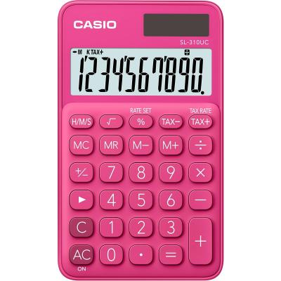 Casio 10 digits, Solar + Battery, Tax/Time calculation, 50 g Calculator - Rood
