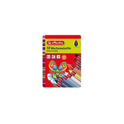 Herlitz set: Wax Crayons 10 Pieces With Rubber Grip Area - Zwart, Blauw, Bruin, Cyaan, Groen, Oranje, Rood, Violet, .....