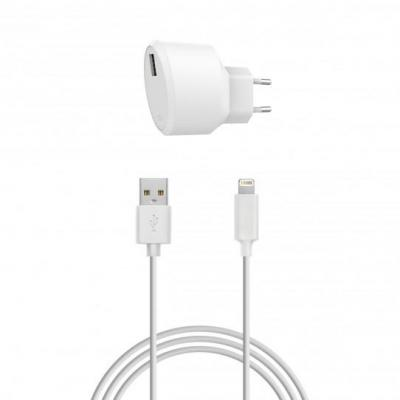Xqisit Travel Charger 2.4A Single USB EU - Lightning (white) Oplader - Wit