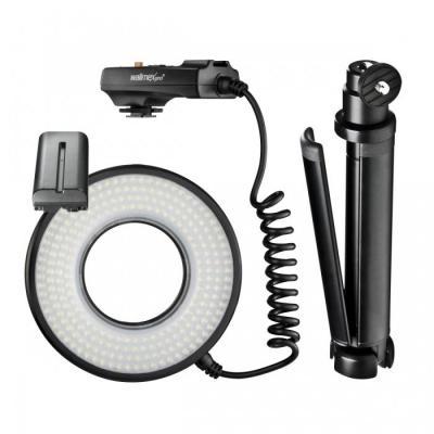 Walimex photo studio equipment set: Macro LED Ringlight DSR 232 Set, 1700 lm, 5800K, Lithium (2200 mAh, 7.4 V)
