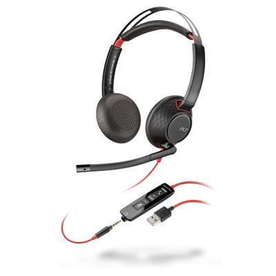 POLY Blackwire 5220 Headset - Zwart, Rood