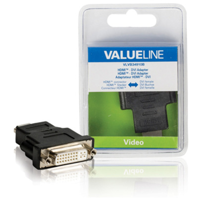 Valueline HDMI - DVI-adapter HDMI connector - DVI vrouwelijk zwart Kabel adapter