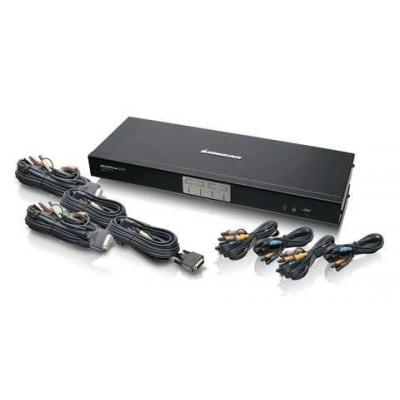 Iogear 4-Port Dual Link DVI KVMP Switch with 7.1 Audio and Cables KVM switch - Zwart