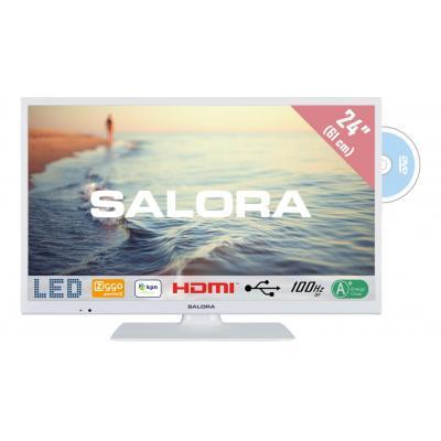 """Salora : 5000 series Een moderne witte 24"""" (61CM) TV met ingebouwde DVD speler"""