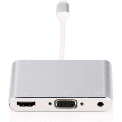 Microconnect Lightning - HDMI / VGA / AUDIO, Silver Hub - Zilver