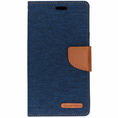 Canvas Diary Booktype iPhone Xr - Blauw / Blue Mobile phone case