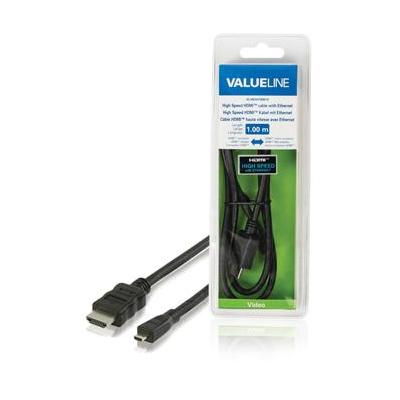 Valueline High Speed HDMI-kabel met ethernet HDMI-connector - HDMI micro-connector 1.00 m zwart HDMI kabel