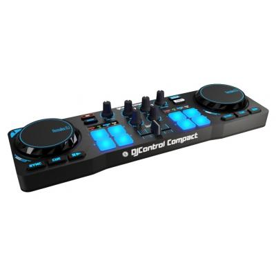 "Hercules DJ controller: 2x jog wheels 2.95"", 4x pads, 4x modes, 2x equalization, 1.77""crossfader, 10x control buttons, ....."