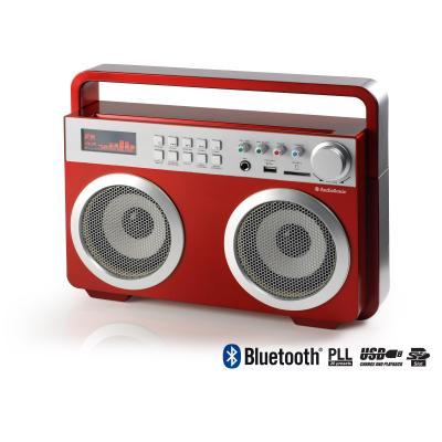 Audiosonic radio: 2x15W, 6.3mm, 10m, SD, 230V - Rood