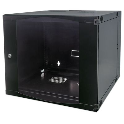 "Intellinet 19"" Double Section Wallmount Cabinet, 9U, 450mm depth, Flatpack, Black Rack - Zwart"