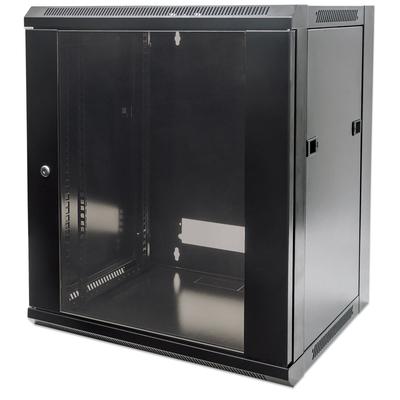 "Intellinet 19"" Wallmount Cabinet, 9U, 500 (h) x 570 (w) x 450 (d) mm, Max 60kg, Flatpack, Black Rack - Zwart"