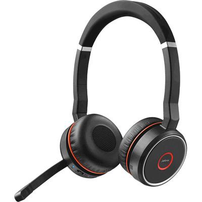Jabra Evolve 75 MS Stereo Headset - Zwart, Rood