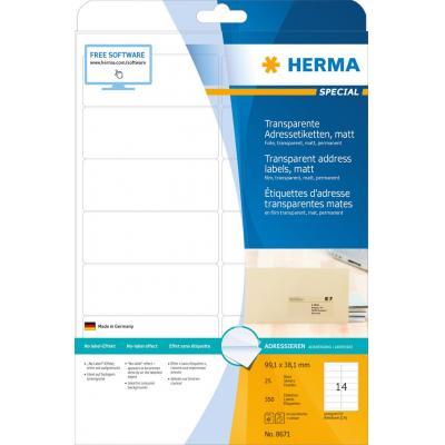Herma adreslabel: Address labels, A4, 99.1x38.1 mm, 350 pcs. - Transparant