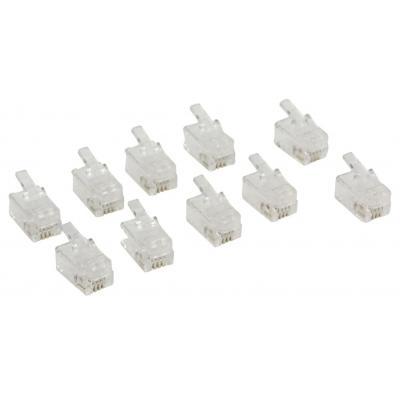 Valueline kabel connector: RJ10 connector RJ10 male transparent 10 pcs - Transparant