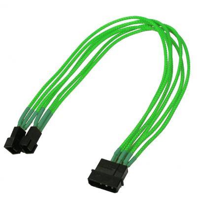 Nanoxia electriciteitssnoer: 4-Pin Molex to 2 x 3-Pin Adaptor, 30 cm, Single Sleeve - Groen