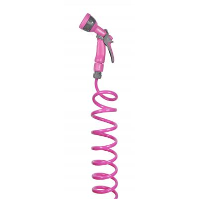 Hozelock tuinslang: Seasons spiral hose Pink 10 meter inclusief Multi Spraygun - Roze