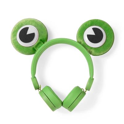 Nedis Bedrade Koptelefoon, 1,2 m Ronde Kabel, On-Ear, Afneembare Magnetische Oren, Freddy Frog, Groen Headset