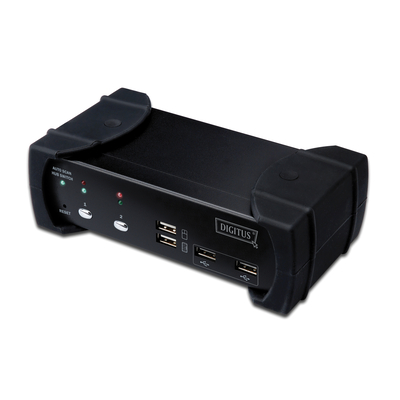 Digitus DVI-Audio-USB, 2-port KVM switch - Zwart