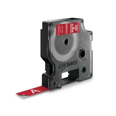 DYMO D1 Durable - White on Red - 12mm Labelprinter tape - Zwart