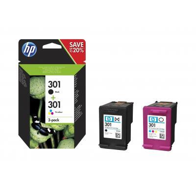 Hp inktcartridge: 301 2-pack Black/Tri-color Original Ink Cartridges - Zwart, Cyaan, Magenta, Geel