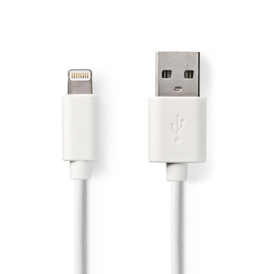 Nedis Sync and Charge-Kabel, Apple Lightning 8-Pins Male - USB-A Male, 1,0 m, Wit