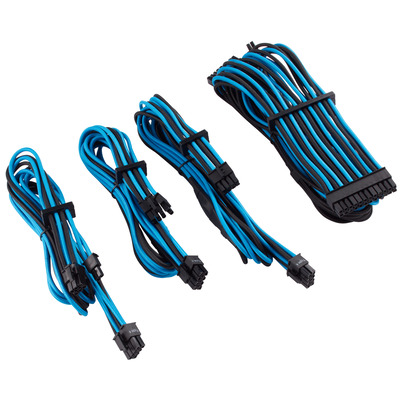 Corsair Premium Individually Sleeved PSU Cables Starter Kit Type 4 Gen 4, Blue/Black - Zwart,Blauw