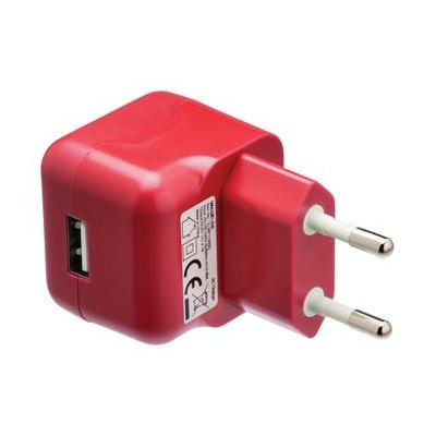 Valueline USB AC charger USB A female - AC home connector red Oplader - Rood