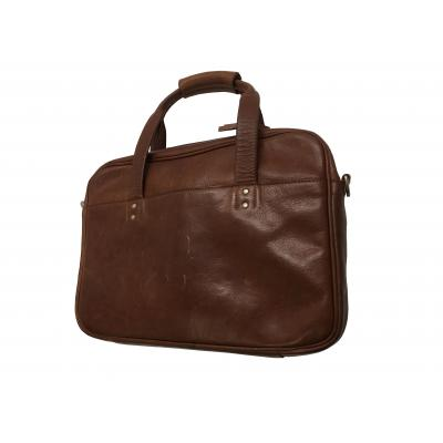 Hp laptoptas: Premium Leather Brown Case - Bruin