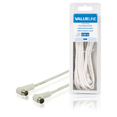 Valueline Coax antennekabel, coax mannelijk gehoekt - coax vrouwelijk gehoekt, 5.00 m, wit Coax kabel