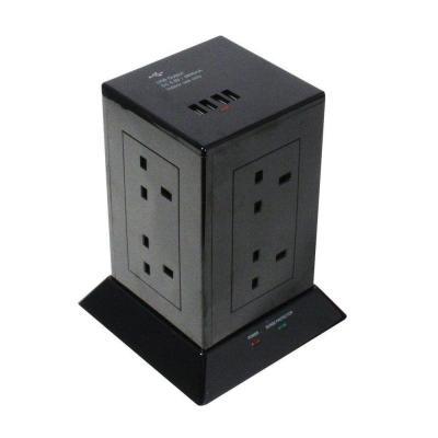 Lindy 8xType G, 4x USB, 3000W, 240V, 100x100x180mm, Black Stekkerdoos - Zwart