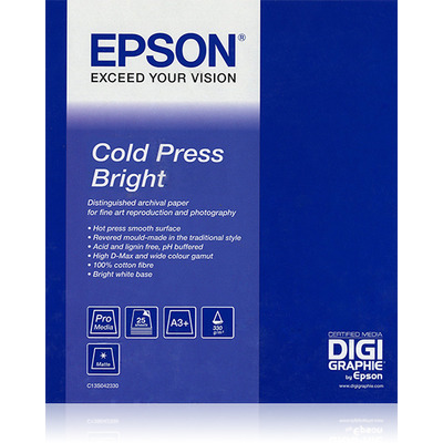 "Epson grootformaat media: Cold Press Bright 60""x 15m"