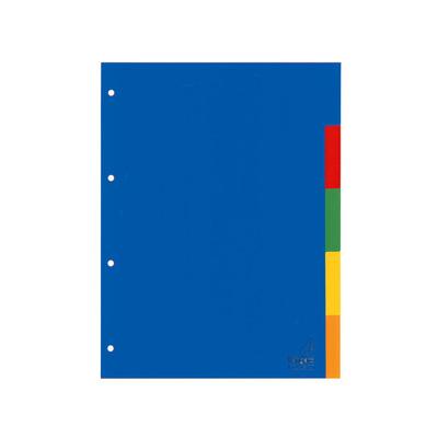 Kangaro Tabblad A4 blanco PP 120mµ assorti 4r 5dlg Indextab - Blauw, Multi kleuren