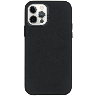 Leather Backcover iPhone 12 (Pro) - Zwart - Zwart / Black Mobile phone case