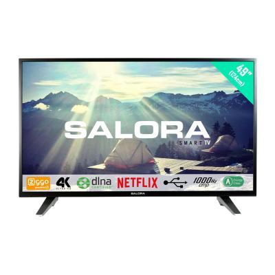 "Salora : Een 49"" (124CM) Ultra HD (4K) SMART LED TV met Netflix, DVB-T/T2/C (CI+), 1000Hz CMP en USB mediaspeler - Zwart"