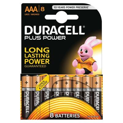 Duracell batterij: Plus Power - 1.5V, 8xAAA, 90g