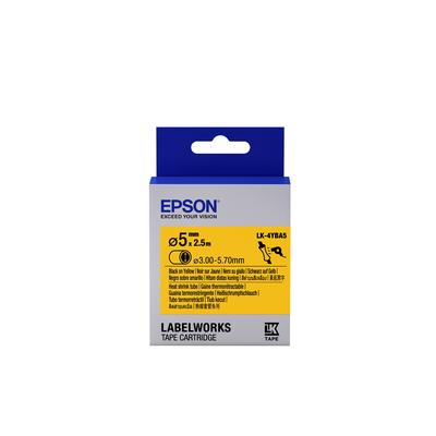 Epson Label Cartridge Heat Shrink Tube (HST) LK-4YBA5, zwart/geel D5 mm (2,5 m) Labelprinter tape