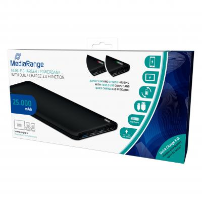 Mediarange powerbank: Powerbank 25.000 mAh with triple USB output, TypeC and Quick Charge function - Zwart