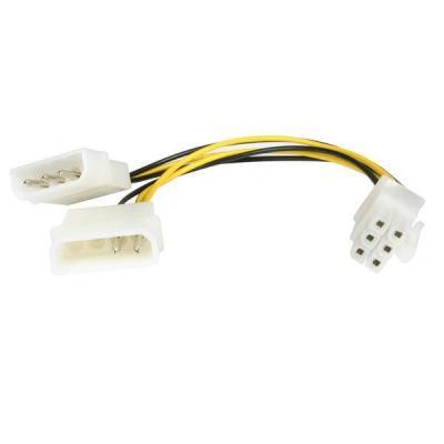 Startech.com electriciteitssnoer: 15 cm LP4 naar 6-polige PCI Express videokaart-voedingskabeladapter - Zwart, Wit, Geel