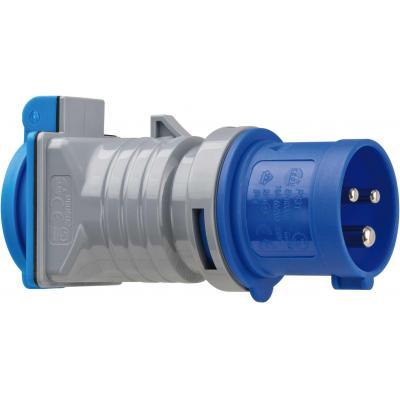 Brennenstuhl elektrische fitting koppelaar: 230V, 50/60Hz, 16A, IP44, 65x124x50mm, 130g, Grey/Blue - Zwart, Grijs