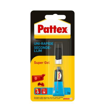 Pattex lijm: Secondelijm Super gel - Zwart, Blauw