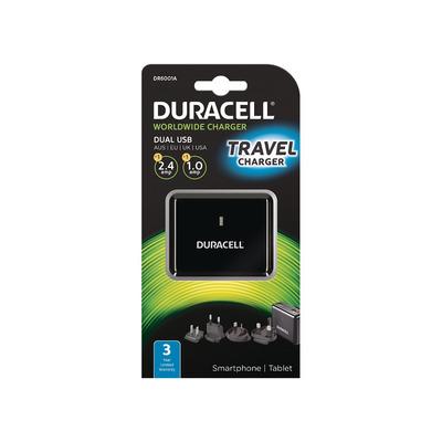 Duracell Dual USB reis (5V/2,4A + 5V/1A) Oplader - Zwart
